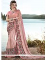 Enchanting Pink Embroidered Work Classic Saree