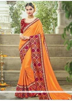 Fantastic Art Silk Orange Traditional Saree