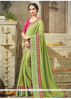 Floral Art Silk Green Designer Traditional Saree