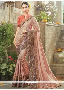 Floral Beige Resham Work Fancy Fabric Classic Designer Saree
