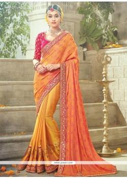 Blooming Art Silk Orange Traditional Designer Saree