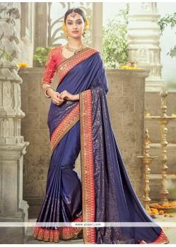 Intricate Art Silk Navy Blue Traditional Saree