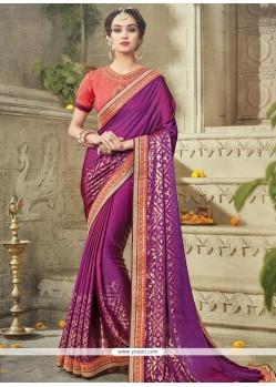Impressive Purple Sequins Work Art Silk Designer Traditional Saree