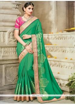 Delectable Art Silk Green Block Print Work Designer Traditional Saree