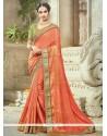 Catchy Art Silk Orange Resham Work Traditional Designer Saree