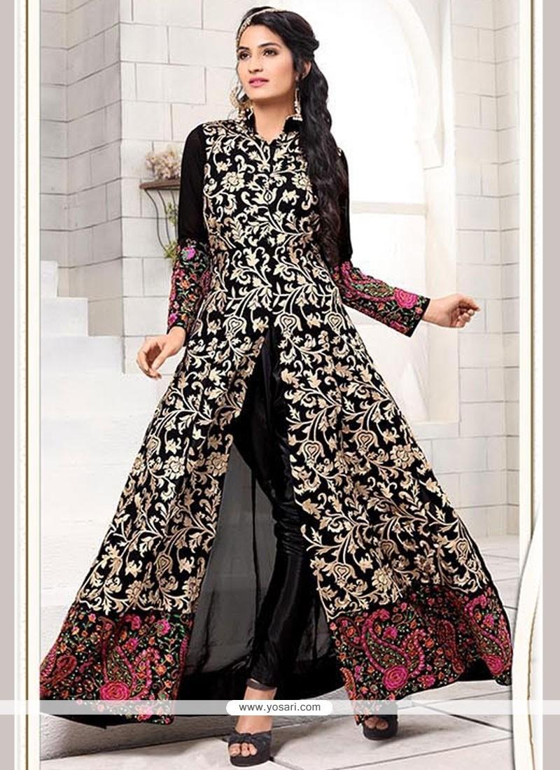 Vibrant Faux Georgette Resham Work Designer Salwar Suit