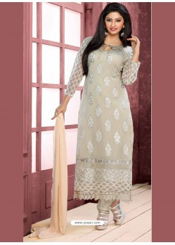 Off White Pure Chiffon Churidar Suit