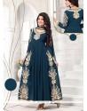 Resham Faux Georgette Designer Salwar Suit In Teal