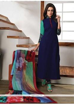 Gleaming Faux Georgette Navy Blue Embroidered Work Churidar Designer Suit