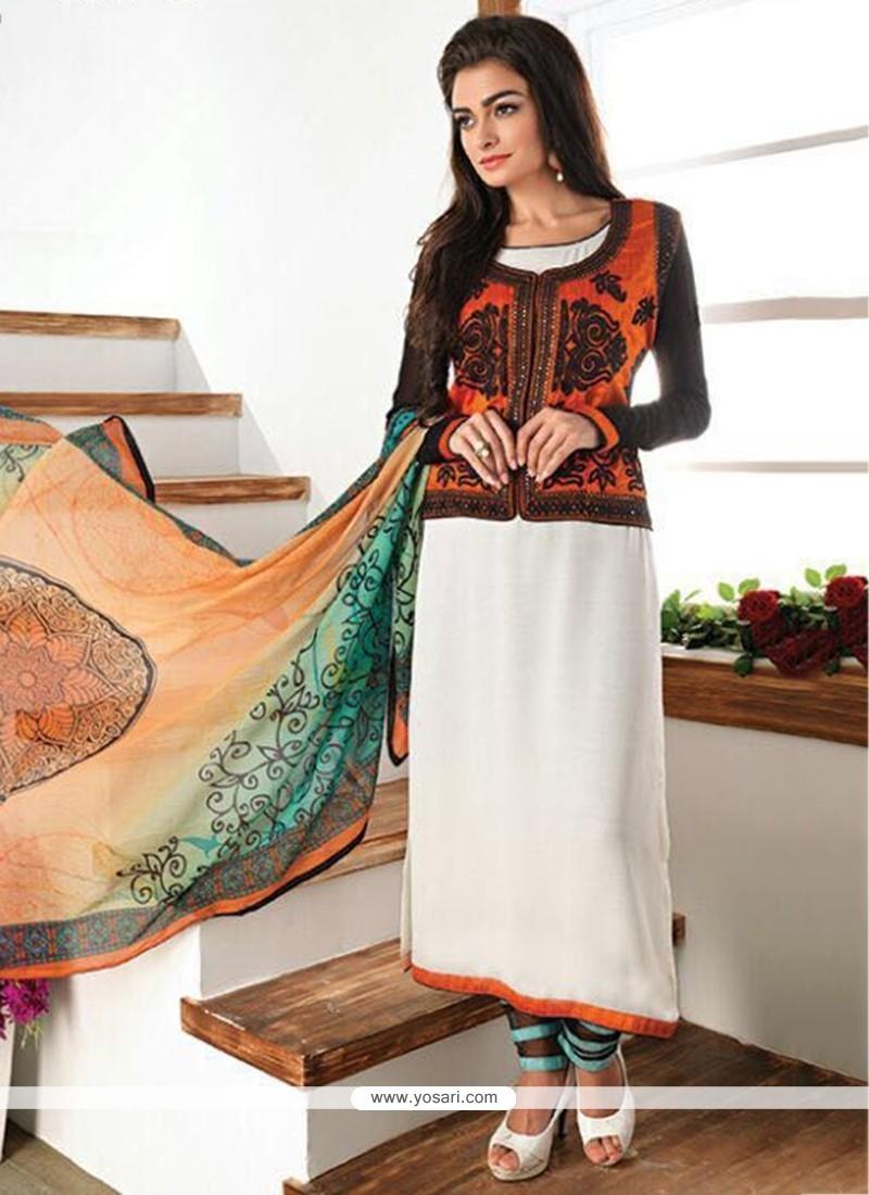 Flattering Faux Georgette Churidar Designer Suit