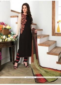 Gratifying Digital Print Work Black Churidar Designer Suit