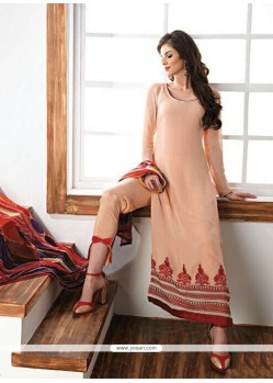 Dignified Embroidered Work Peach Faux Georgette Churidar Designer Suit