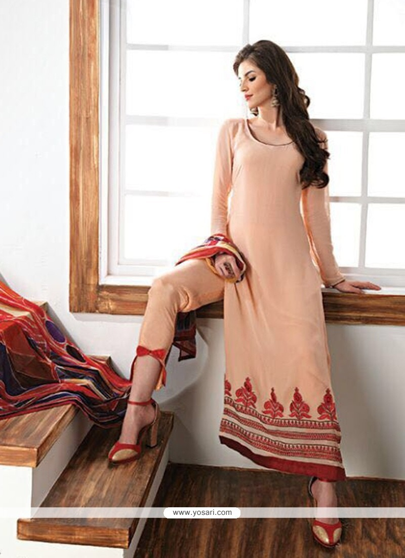 020e26d09d Dignified Embroidered Work Peach Faux Georgette Churidar Designer Suit