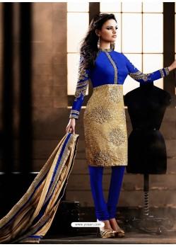 Blue And Golden color Bhagalpuri Silk Churidar Suit