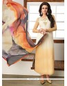 Lively Embroidered Work Faux Georgette Beige And Cream Churidar Designer Suit