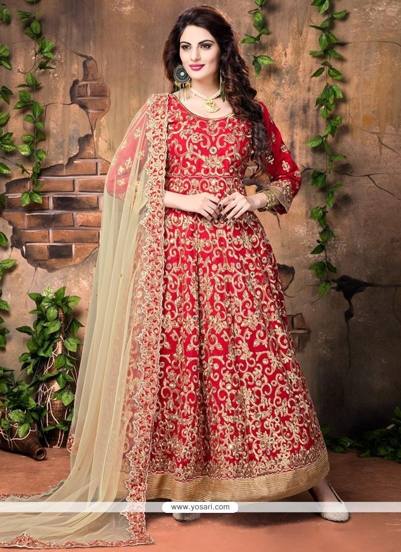 Mesmeric Red Embroidered Work Banglori Silk Designer Floor Length Suit