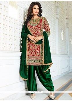 Urbane Green And Red Designer Patiala Salwar Kameez