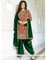 Urbane Green And Red Designer Patiala Salwar Kameez