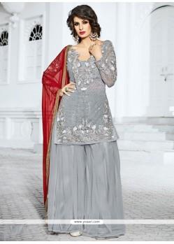 Observable Gold Zardosi Work Grey Designer Pakistani Suit