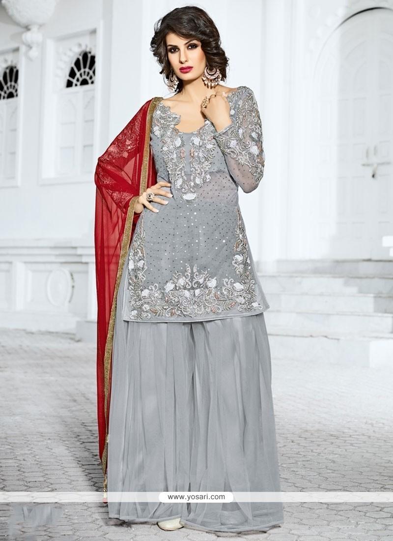32b4b89227 Buy Observable Gold Zardosi Work Grey Designer Pakistani Suit ...