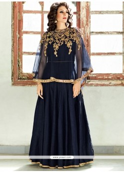 Eye-catchy Lace Work Navy Blue Art Silk Designer Floor Length Suit