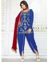 Flattering Blue Stone Work Punjabi Suit