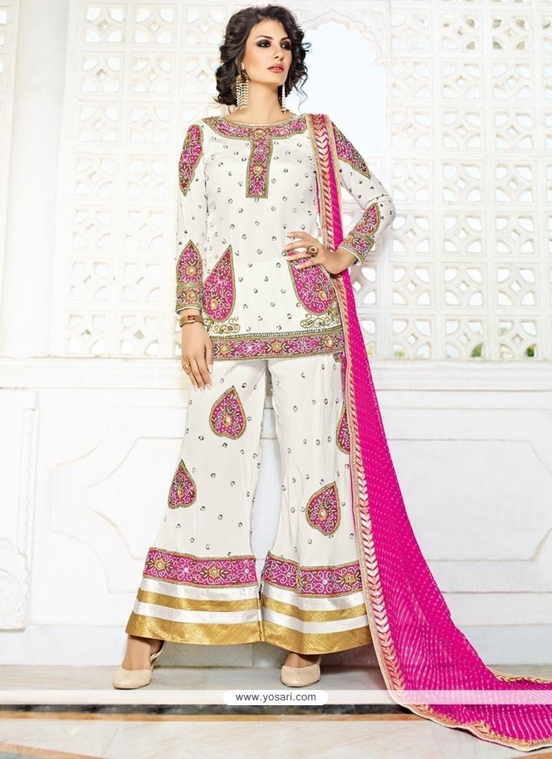 Intricate Fancy Fabric White Designer Palazzo Salwar Kameez