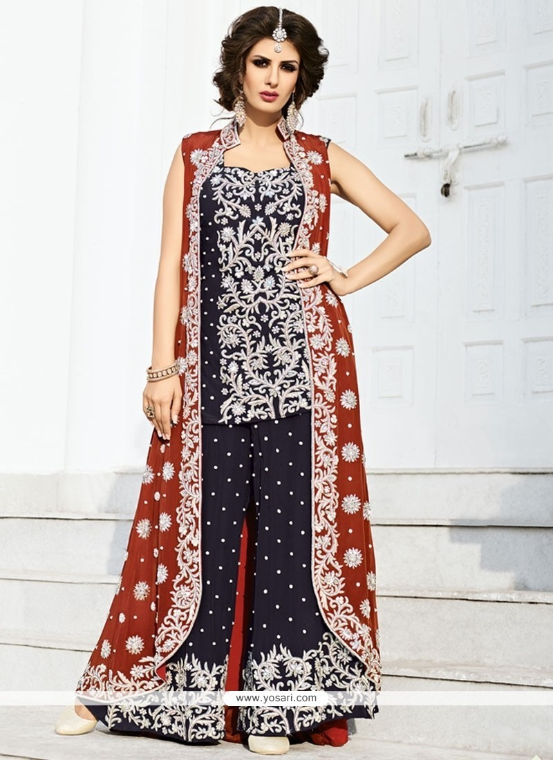 Genius Navy Blue And Red Art Silk Jacket Style Suit