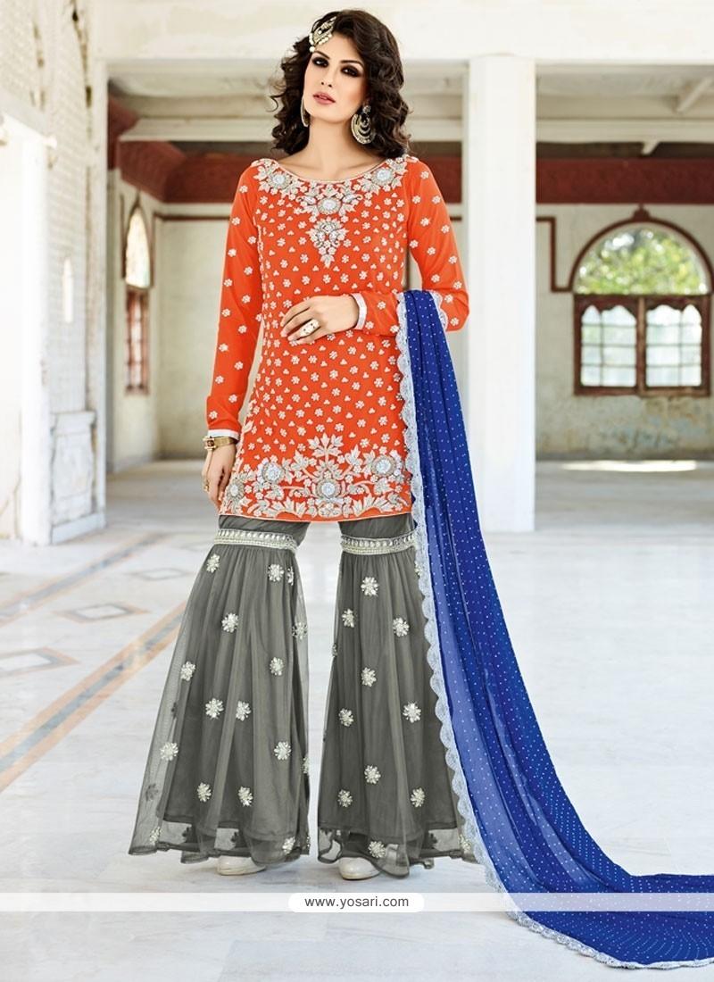 Grandiose Zari Work Grey And Orange Designer Pakistani Salwar Suit
