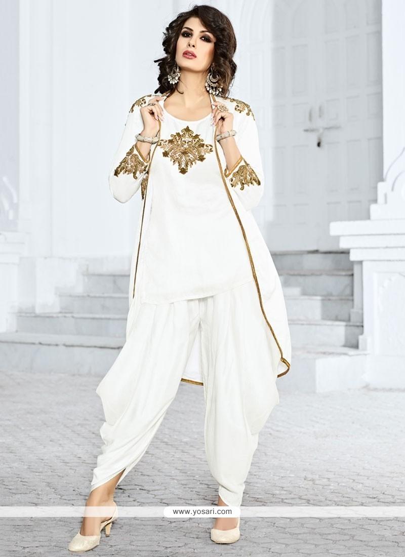 38defdc0ba Buy Dazzling White Jacket Style Salwar Suit | Punjabi Patiala Suits