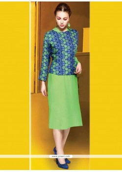 Snazzy Cotton Green Party Wear Kurti