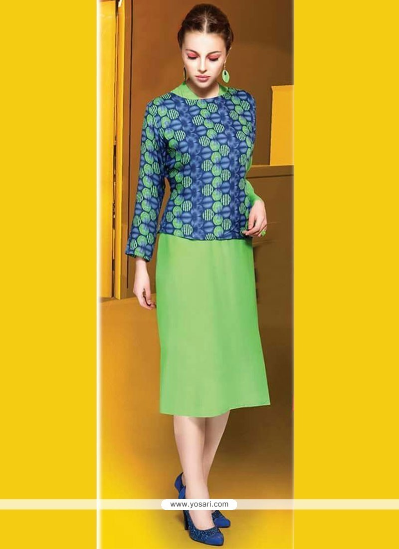 Snazzy Cotton Green Party Wear Kurti