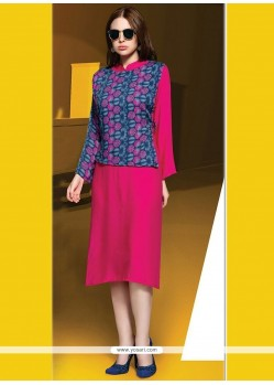 Grandiose Hot Pink Digital Print Work Party Wear Kurti