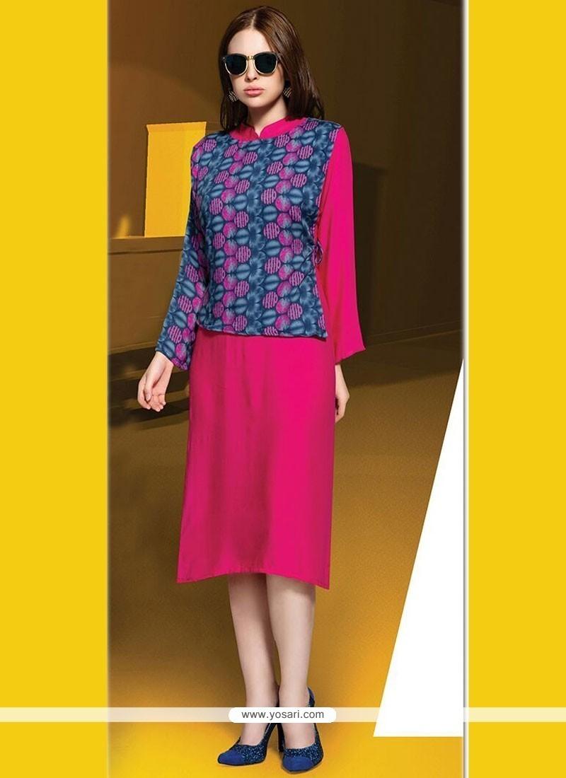 Grandiose Hot Pink Digital Print Work Party Wear Kurti