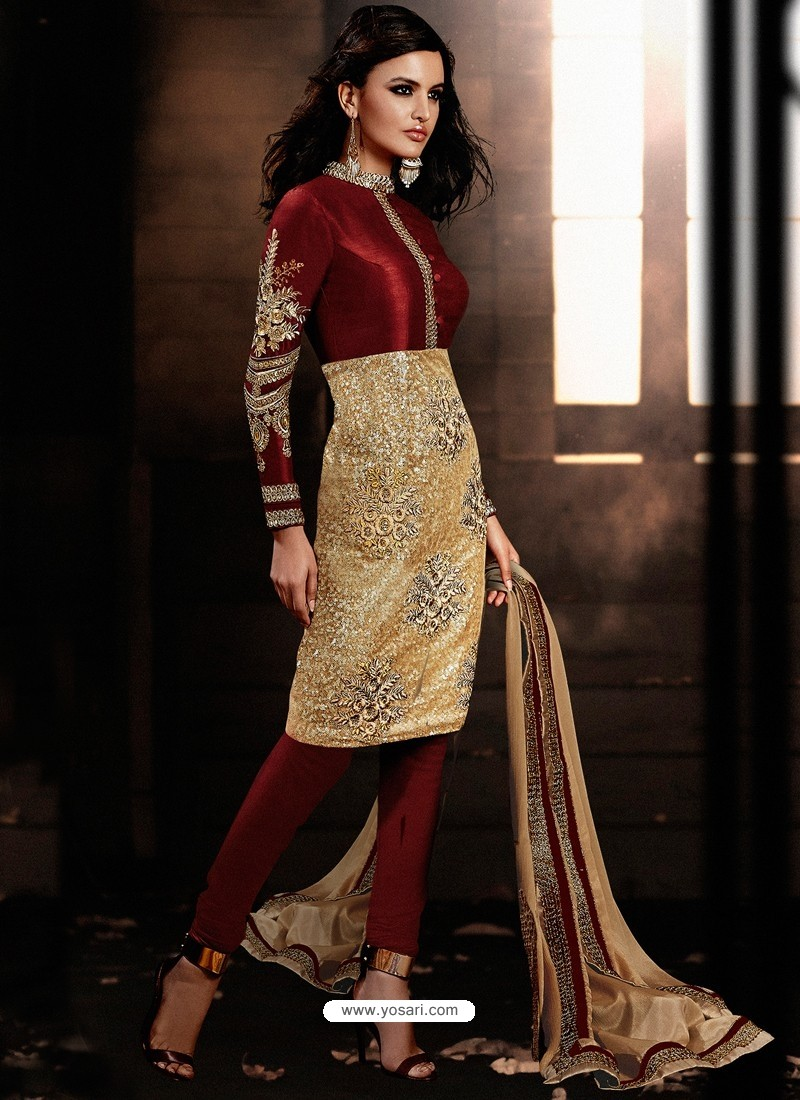 Maroon And Golden color Bhagalpuri Silk Churidar Suit