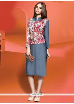 Sophisticated Cotton Grey Party Wear Kurti