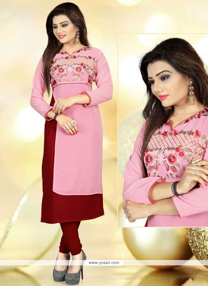 Vivid Faux Georgette Pink Embroidered Work Party Wear Kurti