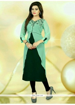 Dignified Faux Georgette Green Party Wear Kurti