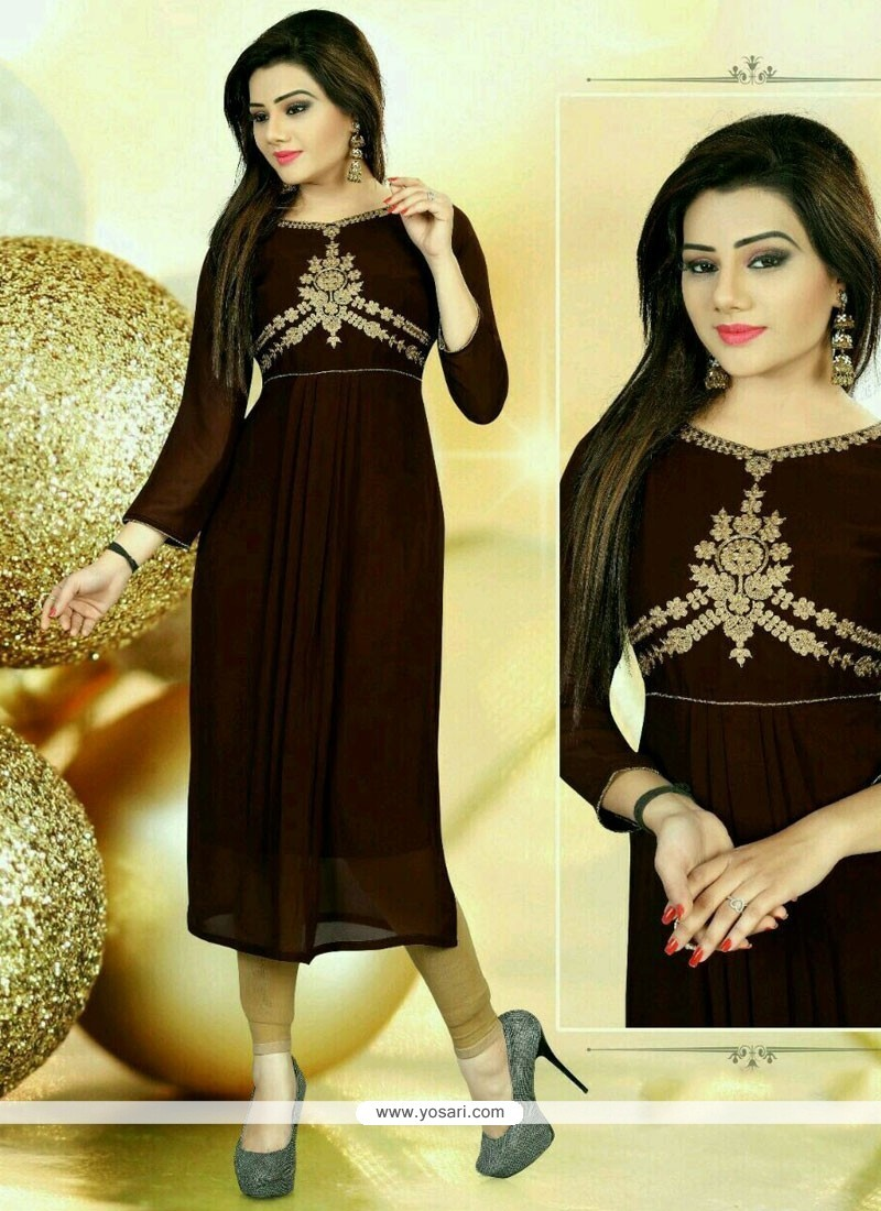Pleasance Brown Embroidered Work Faux Georgette Party Wear Kurti