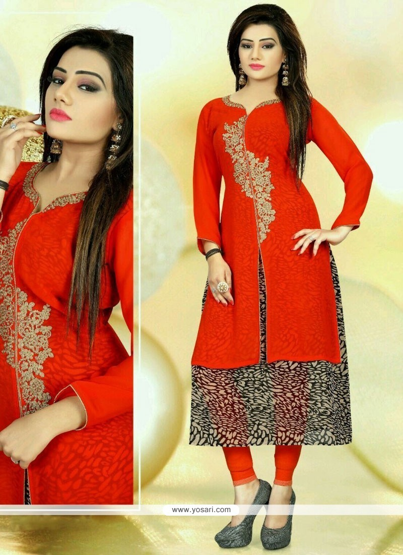 Dignified Embroidered Work Faux Georgette Party Wear Kurti