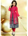 Glorious Embroidered Work Hot Pink Faux Georgette Party Wear Kurti