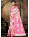 Immaculate Pink Print Work Printed Saree