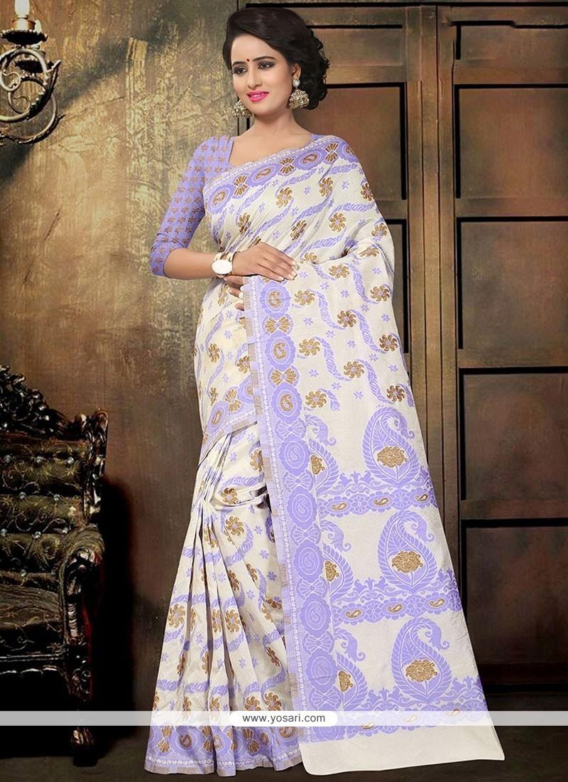 Enticing Purple Printed Saree