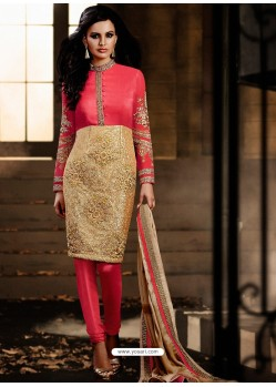 Pink And Golden color Bhagalpuri Silk Churidar Suit