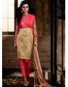 Pink And Golden color Bhagalpuri Silk Churidar Suit