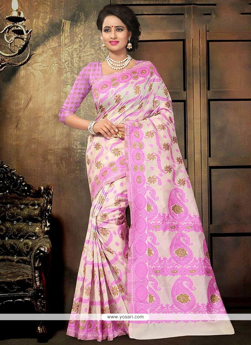 Classy Cotton Rose Pink Printed Saree