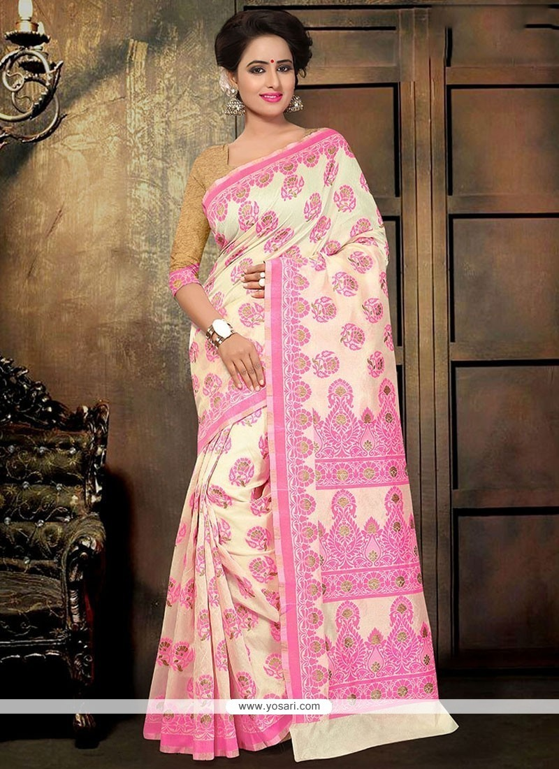 Thrilling Print Work Pink Cotton Printed Saree