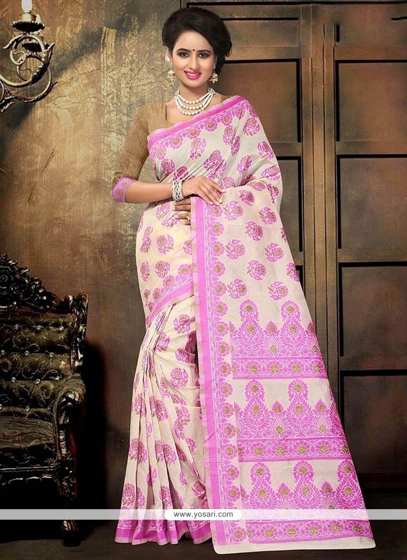 Winsome Pink Printed Saree