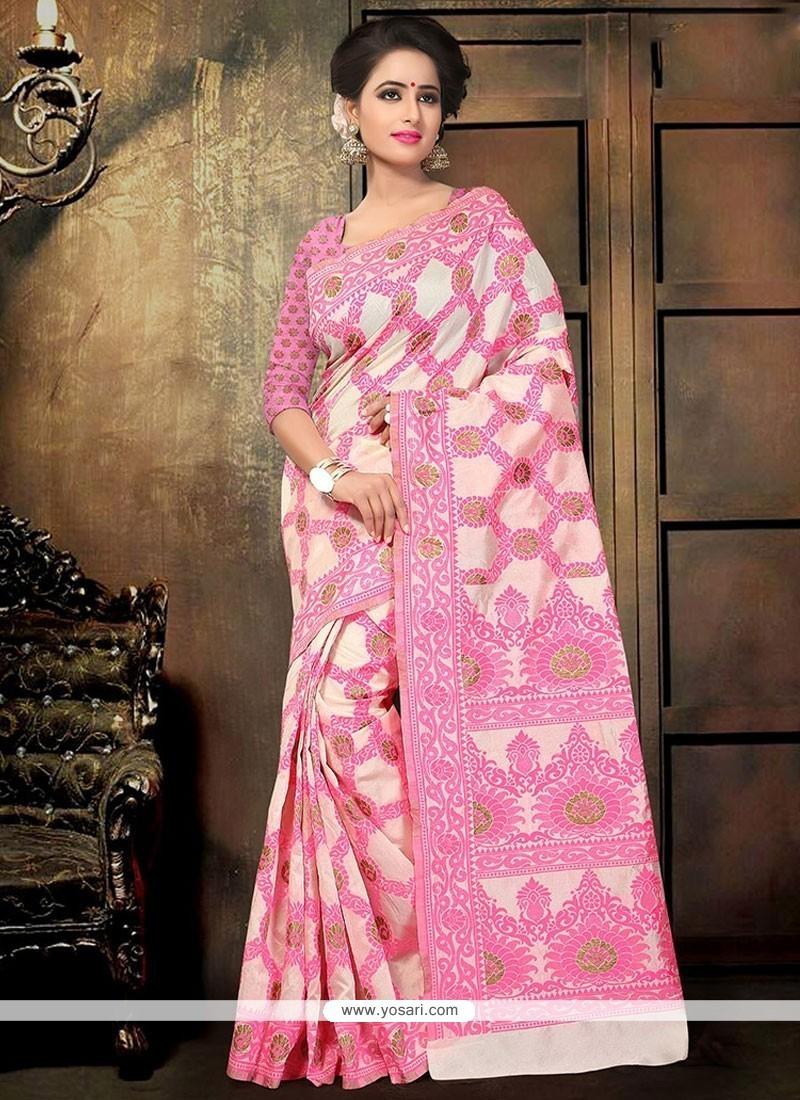 Sumptuous Pink Print Work Cotton Printed Saree
