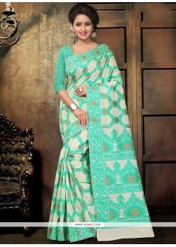 Praiseworthy Sea Green Printed Saree